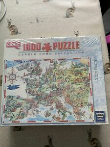 NEW +SEALED. King CRAZY  EUROPE. Comic 1000 piece puzzle. Gerold Como Collection