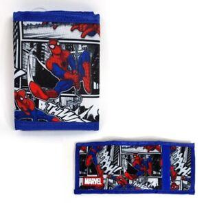 Marvel Spider man Blue Tri-fold Velcro Wallet Light Weight with Multiple Pocket