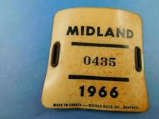 ONTARIO LICENSE PLATE BICYCLE MIDLAND 1966 0435 VINTAGE PLASTIC TAG CANADA