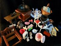 Dollhouse Miniature Lot of Accessories sewing toys dishes porcelain furniture