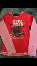 Girls Size 8  Longsleeve Top With Drums and Rockstar Motif New