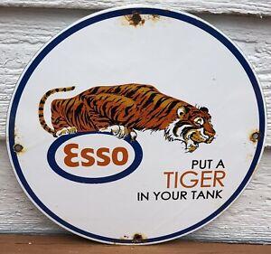 VINTAGE 1962 DATED ESSO MOTOR OIL PORCELAIN GAS SIGN PUT A TIGER IN YOUR TANK