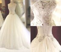 Beading Crystal Wedding dress Bridal Gown Custom Size 4 6 8 10 12 14 16 18 20 ++