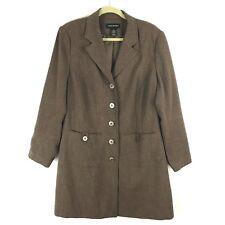 ac70de4436f Lane Bryant Womens Jacket Size 18 Brown Long Sleeve Button Up Pocket Coat