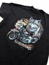 Vintage Harley Davidson 3D Emblem Survivors Shirt XL 80s N. Caroline