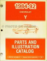 1984-1992 Corvette Parts Book Original Chevy Illustrated Master Part Catalog