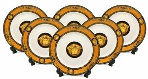 Luxury 6-pc Set, Salad or Dessert Plates Medusa Greek Key (Yellow)