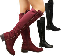 Ladies Womens Block Heels Studded Stretch Calf Riding Knee High Boots Shoes Size