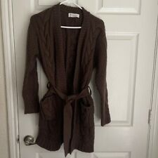 Johnstons Of Elgin 100% Cashmere Heavy Thick Cable Knit Belted Cardigan S / M