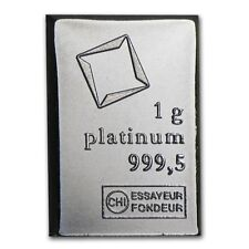 Lingot Valcambi 1g Platine pur 9995 / 1 Gram Valcambi Fine Platinum 9995 Bar