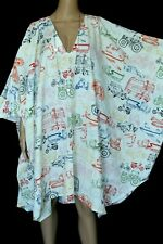 VINTAGE Retro Vehicles Boat Print Draped HIPPIE BOHO Mini Dress Caftan Cotton
