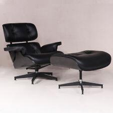 Classic Eames Style Lounge Chair & Ottoman 100% Top Grain Leather Black Color-AU