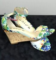 UNISA Womens Sz 7M Cork Wedge Sandals Multicolor Floral Peep Toe Spring Easter