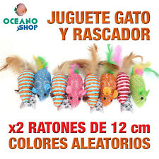 JUGUETE RASCADOR GATO PACK x2 RATONES PLUMAS COLORES ALEATORIOS 12 cm L120 3167