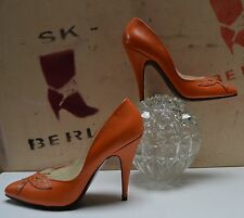 ANDRE Damen Pumps orange TRUE VINTAGE 90s NOS 10 cm Heel edel Tanzen Party Event