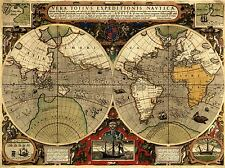 MAP ANTIQUE HEMISPHERE GLOBE WORLD ART POSTER PRINT LV2105
