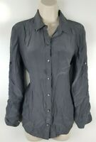 Broadway & Broom Madewell Womens L/S Button Front Silk Blouse Sz Small Gray EUC