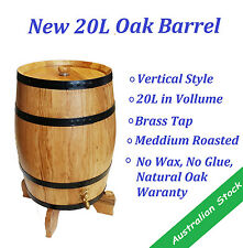 New Vertical 20L American Oak/Wooden/Wine Barrel Free Upgrade to Brass Tap