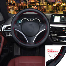 NEW Black/Red Sewing Soft Leather DIY Steering Wheel Covers 37~38 cm Universal