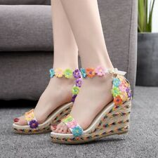 Lace Flower Peep Toe Platform Wedges High Heel Sandals Bohemia Wedding Sandals