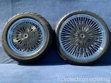 Chrome DNA Mammoth 52 Spoke Wheels Black Rotors Tires Harley 09-20 Road Glide