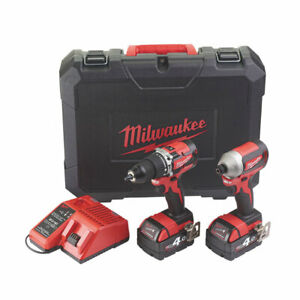 Milwaukee Cordless Combi Drill&Impact Driver Twin Pack M18CBLPP2A-402C 2 x 4.0Ah