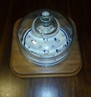 Vintage Goodwood Cheese Board With Glass Dome Lid. Square Wood. Ceramic center