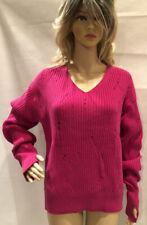 Helmut Lang Magenta Drop Needle Soft Italian Wool Sweater Size L w/thumb holes