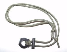 Paracord Fire Starter Survival Necklace Waxed Tinder Cord Flint & Steel / OD