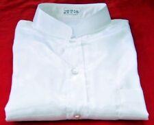 Mens Thai Silk Shirt / White / Mandarin Collar / Short-Long Sleeve Small-XXXL