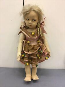 "HUGE 21"" Antique 1920's Italy Cloth Felt Stuffed LENCI Doll Dress"
