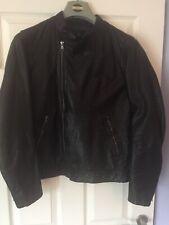 Banana Republic Premium Leather Black Biker Jacket Size Small RRP £349