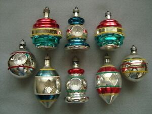 EIGHT VINTAGE PREMIER GLASS CHRISTMAS ORNAMENTS - TOPS, LANTERNS, & MORE