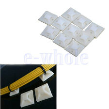 20 x White 20 X 20MM CABLE TIE WRAP BASE SELF ADHESIVE 4 WAY MOUNTS ZIP TIES DT