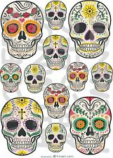 12 ADESIVI TESCHI  FINESTRA WINDOW STICKERS VETRI SKULLS MESSICANI FIORI SUGAR