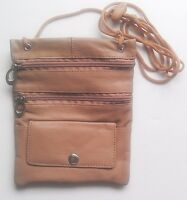TAN BIG PASSPORT Genuine Leather ID Holder Neck Pouch Wallet TRAVEL New!