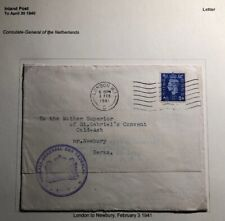 1941 London England Netherlands Consulate Diplomatic Cover To Newbury