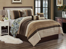 7-Pc Leone Paisley Embroidery Comforter Set Beige Coffee Tan Gray Taupe King