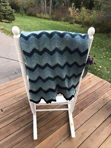 Vintage Handmade Crochet Blanket Afghan 33x65 Zig Zag Chevron Blue Ombré