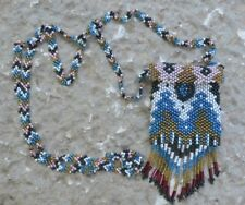 HAND BEADED Amulet / Medicine Bag Czech Seed Bead Fringed Necklace