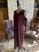 Dressy New York Plum Purple Evening Maxi Gown  Sleeveless Dress Gold Buttons 2X