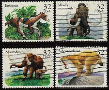 Scott #3077-80 Used Set of 4, Prehistoric Animals