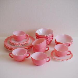 Hazel Atlas Pink Ripple Series Set Milk Glass Cup Plate Cereal Berry Bowl F/S
