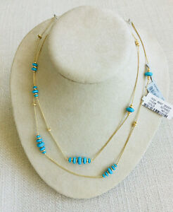 """NEW with Tags DAVID YURMAN 18K GOLD/TURQUOISE Necklace 36"""" Chain MSRP 3,000."""