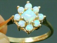 9ct Gold  Fiery Opal Cluster Engagement ring size P