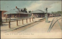 South Framingham MA RR Train Station Depot c1905 Postcard