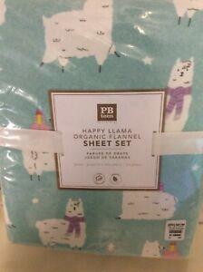 Pottery Barn Teen Happy Llama Organic Queen Sheet Set NWT Blue