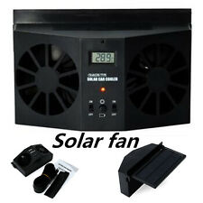 Black Solar Powered Car Bouble Air Vent Cool Fan Cooler Ventilation Radiator New