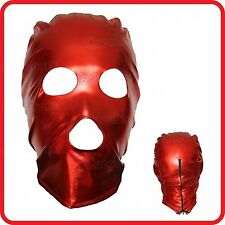 Red spandex, latex masque capuche, mistres wet look pvc yeux et bouche trous