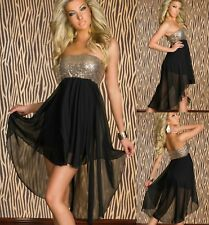 Sz 10 12 Black Gold Sequin Hi Lo Strapless Cocktail Club Dance Party Prom Dress